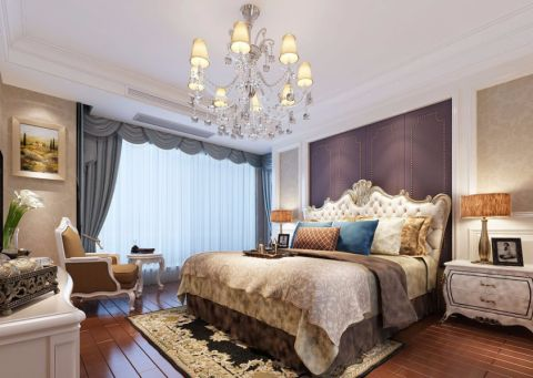 卧室背景墙简欧风格装修设计图片