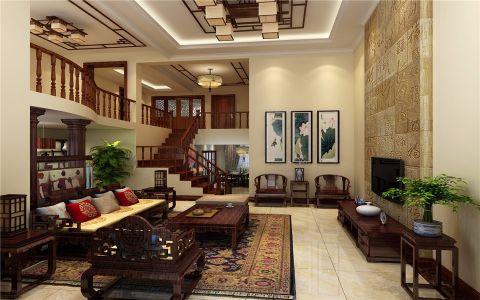 中式风格275平米复式室内装修效果图