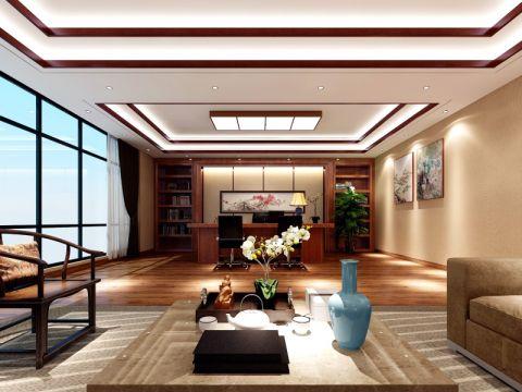 郑东商业中心350平米中式办公室装修效果图