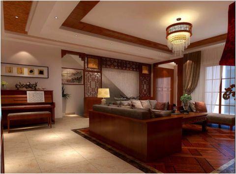 新中式风格130平米三房两厅新房装修效果图