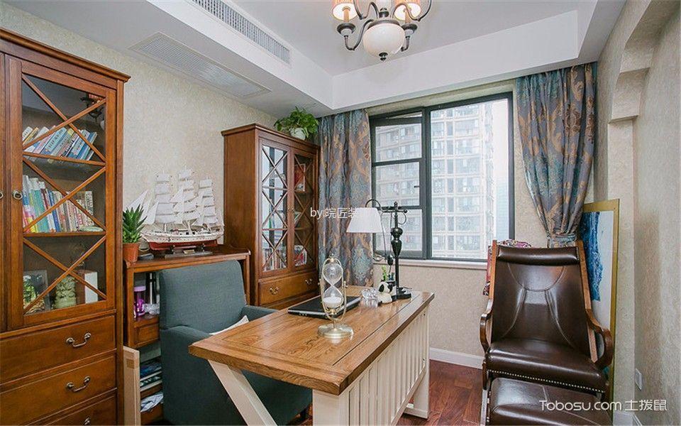 书房彩色窗帘美式风格装潢设计图片