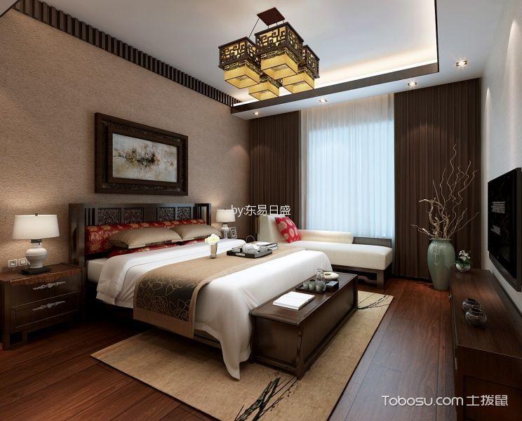 卧室咖啡色窗帘新中式风格装修效果图