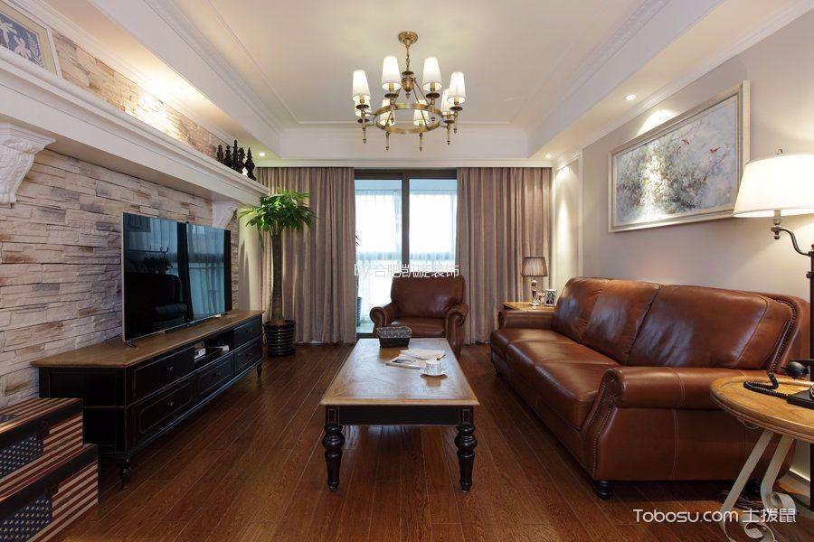 客厅灰色窗帘美式风格装修图片