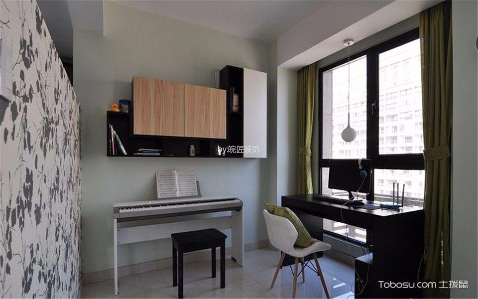 书房绿色窗帘现代简约风格装修设计图片