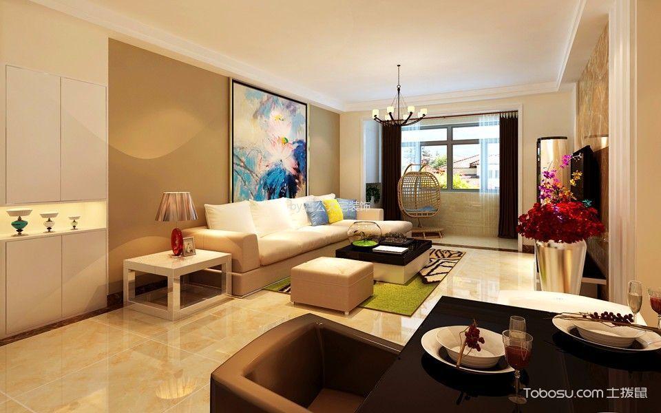 客厅咖啡色窗帘后现代风格装饰设计图片