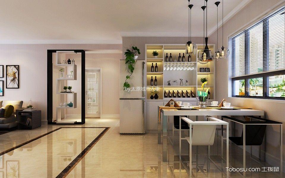 餐厅白色窗帘现代简约风格装潢图片