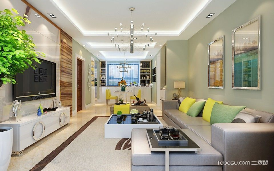 现代简约风格116平米楼房房子装饰效果图