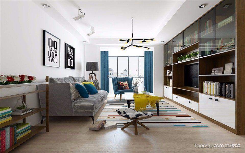 北欧风格92平米3房2厅房子装饰效果图