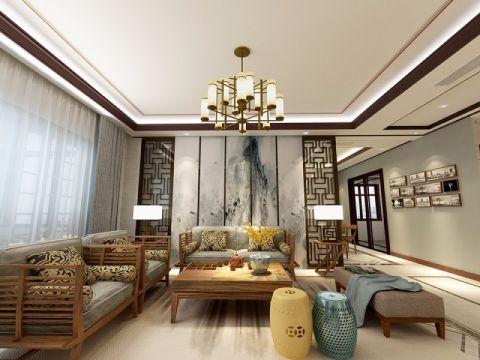 百合春天两室一厅新中式风格效果图