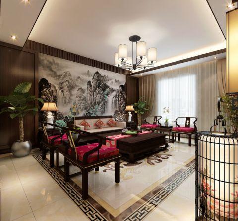 新中式风格205平米4房2厅房子装饰效果图