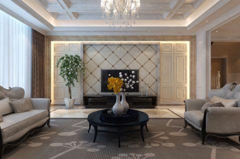 客厅背景墙新古典风格装潢图片