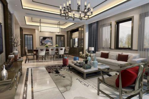 新中式风格290平米别墅室内装修效果图