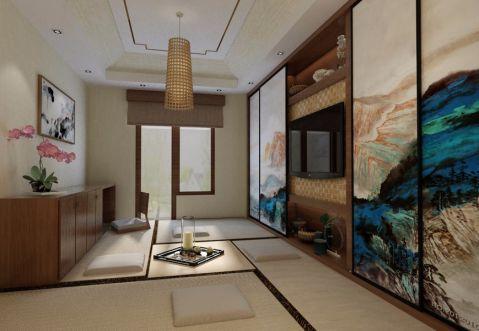 起居室背景墙新中式风格装潢设计图片