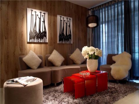 简约风格120平米两房两厅新房装修效果图