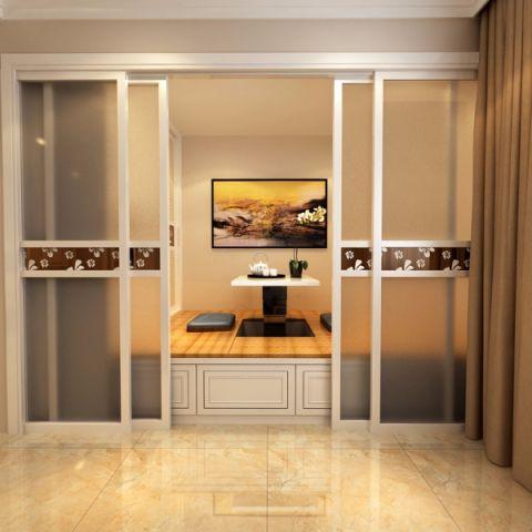 起居室白色推拉门现代简约风格装潢效果图