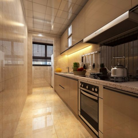 厨房黄色背景墙现代简约风格装修图片