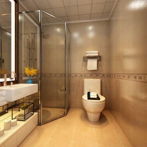 卫生间黄色背景墙现代简约风格装饰图片
