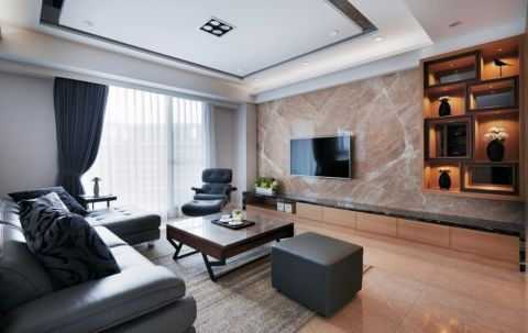 客厅咖啡色背景墙现代风格装修图片