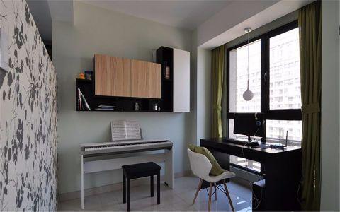 书房窗帘现代简约风格装修设计图片