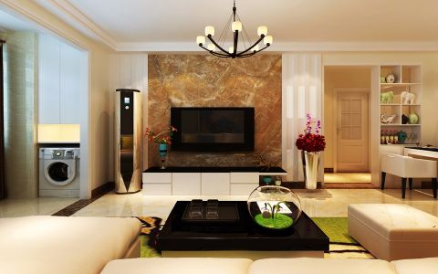 客厅茶几后现代风格装修设计图片