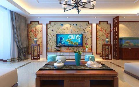 客厅窗帘中式风格装修设计图片
