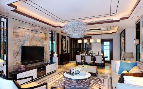 客厅隔断新中式风格装潢效果图