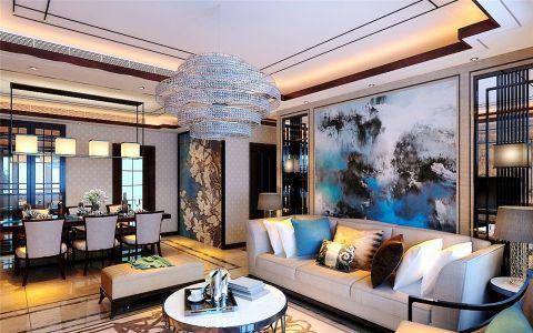 客厅灯具新中式风格装修图片