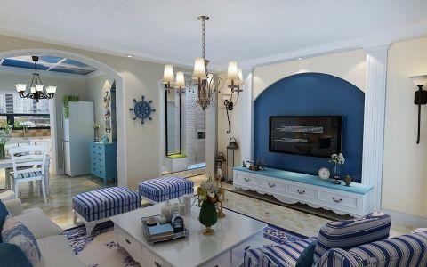 客厅背景墙地中海风格装饰图片