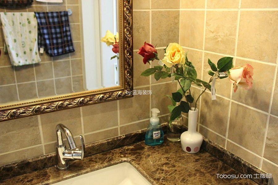 卫生间黄色背景墙简欧风格装潢图片