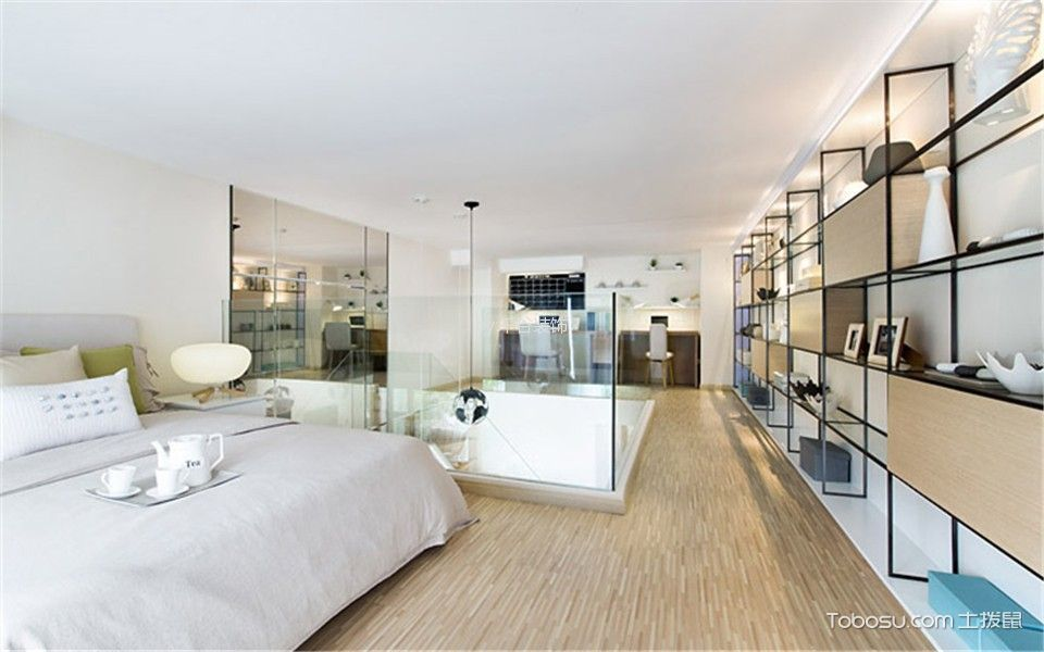 卧室白色吊顶北欧风格装修图片