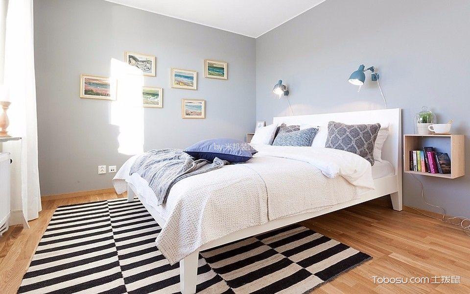 卧室蓝色照片墙北欧风格装潢图片