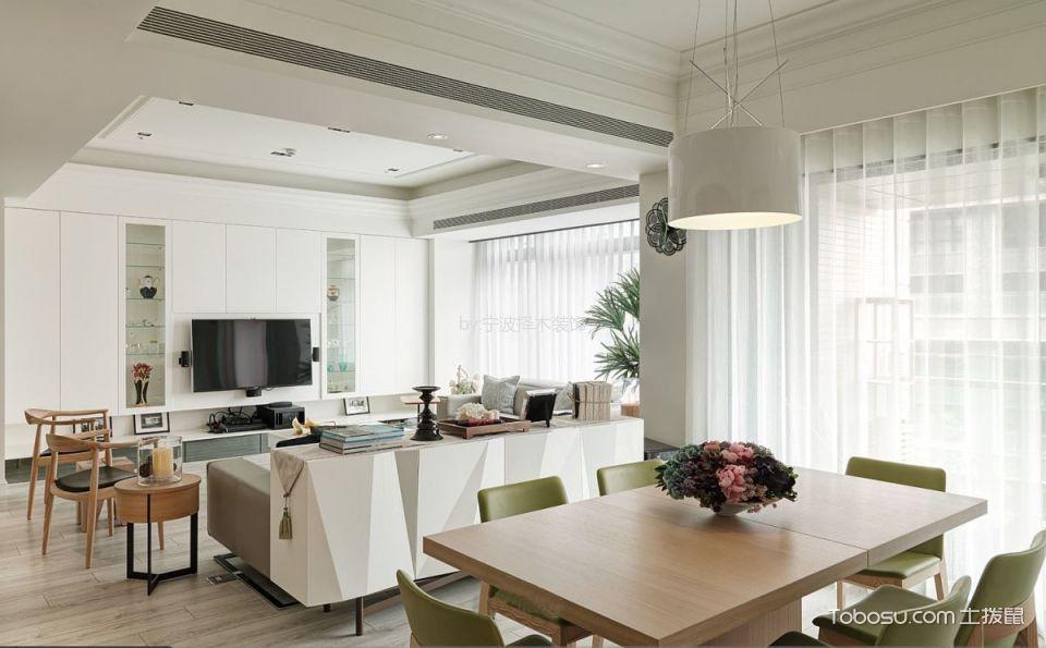 餐厅白色窗帘美式风格装饰设计图片