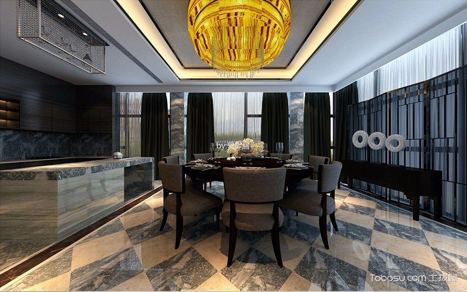餐厅黑色窗帘现代风格装潢图片