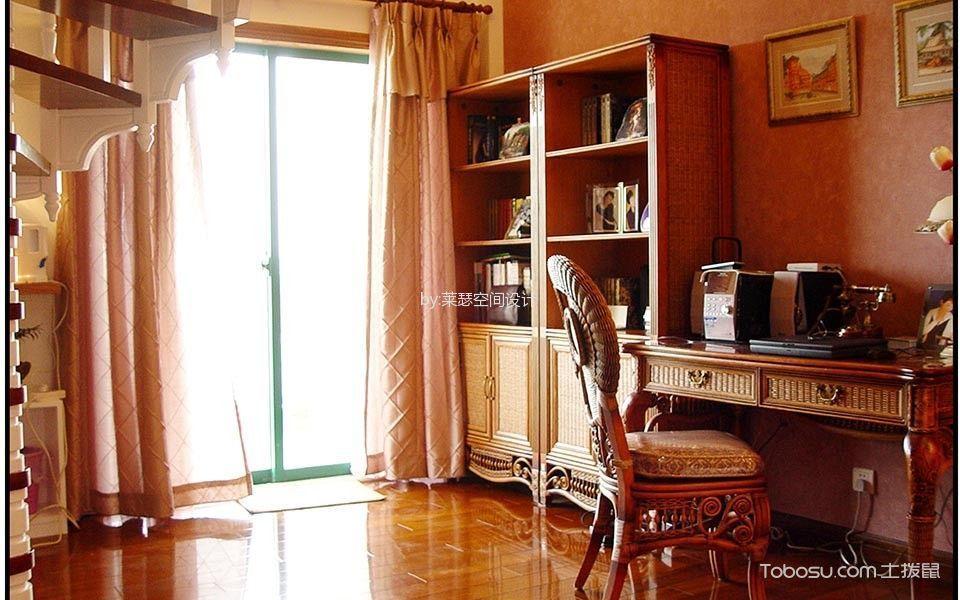 书房白色窗帘混搭风格装修图片