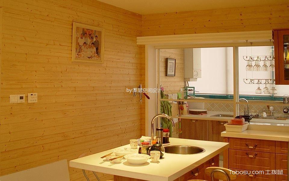 厨房黄色背景墙混搭风格装潢图片