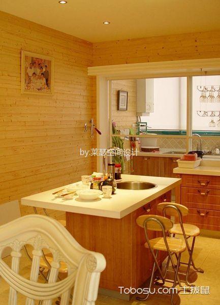 厨房黄色吧台混搭风格装修设计图片