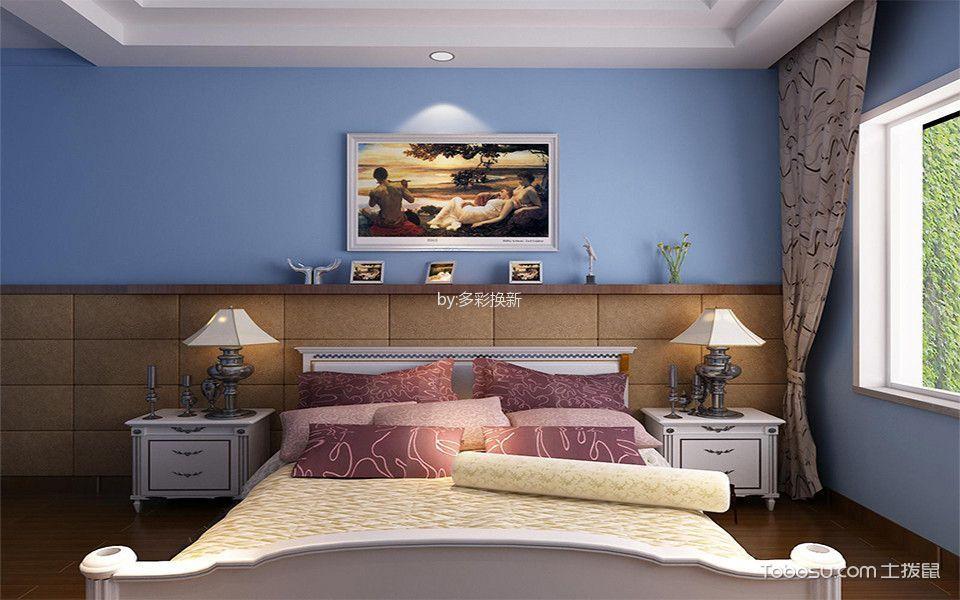 卧室蓝色背景墙地中海风格效果图