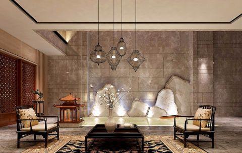 新中式风格400平米别墅房子装饰效果图