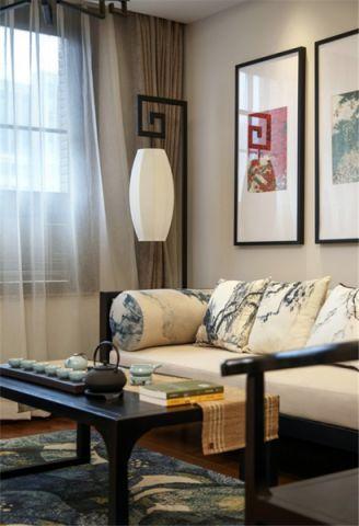 客厅背景墙新中式风格装修图片