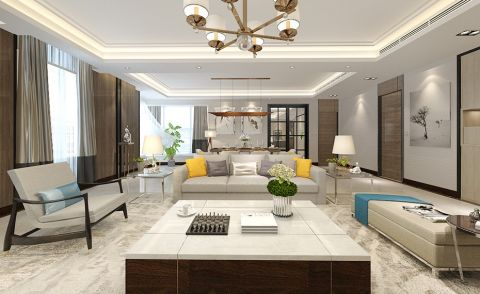 现代简约风格189平米大户型新房装修效果图