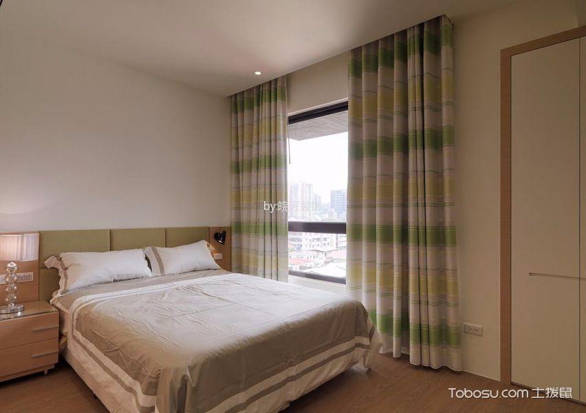 卧室彩色窗帘北欧风格装饰效果图