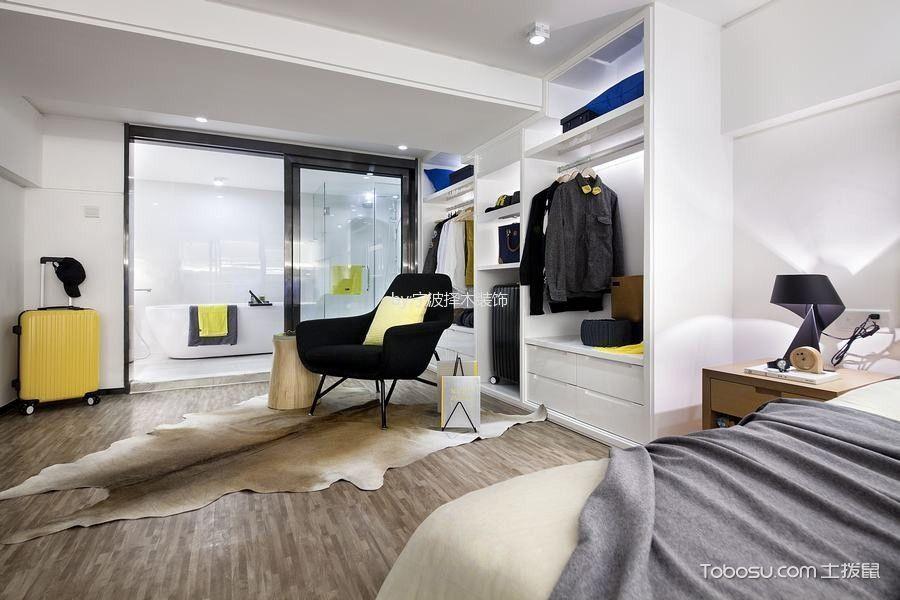 卧室白色衣柜现代简约风格装潢设计图片