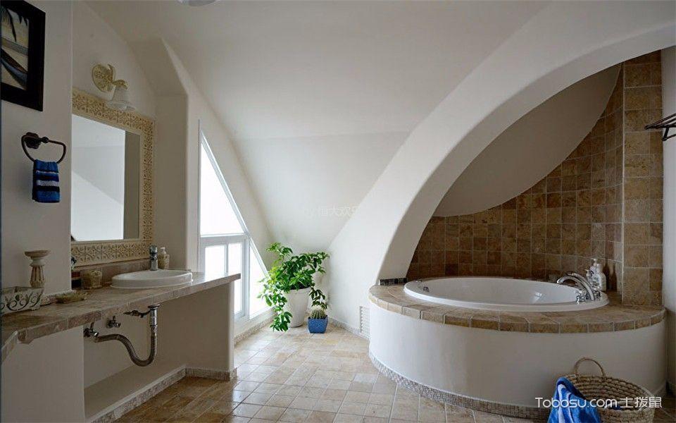 卫生间黄色背景墙地中海风格效果图