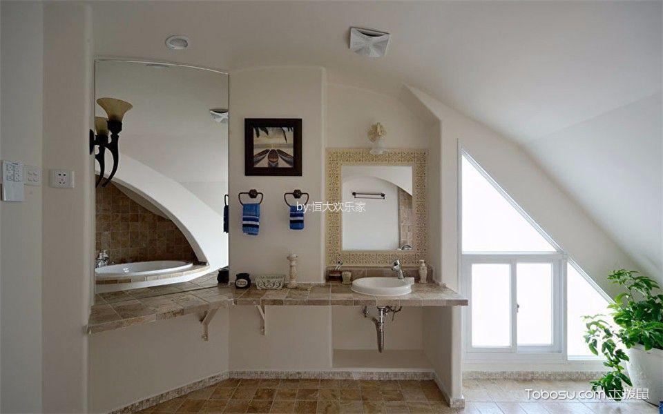 卫生间白色吊顶地中海风格装饰效果图