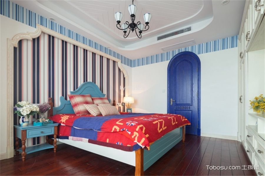 卧室彩色背景墙地中海风格装修效果图