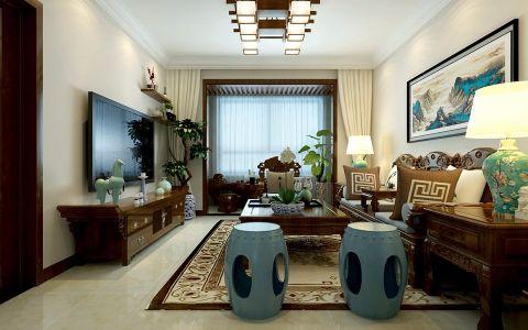 中式风格116平米两房两厅新房装修效果图