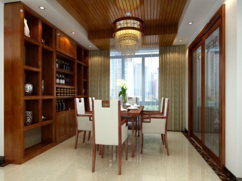 餐厅咖啡色博古架中式风格装修设计图片