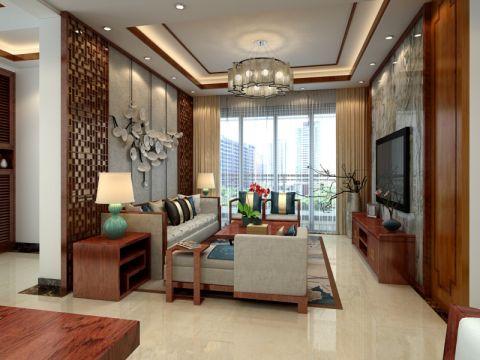 客厅橙色窗帘中式风格装饰设计图片