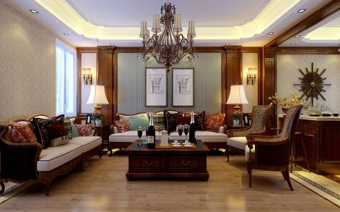 新中式风格180平米大户型房子装饰效果图