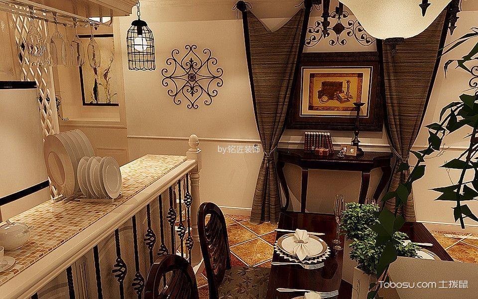 餐厅咖啡色窗帘美式风格装饰效果图